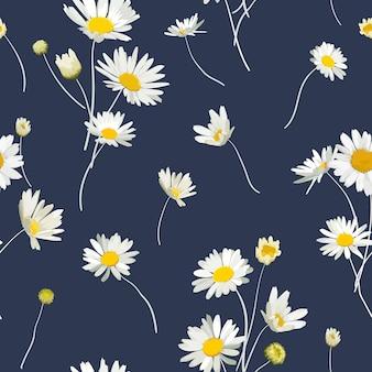 Teste padrão floral sem costura com flores de camomila. fundo natural com flores da margarida para papel de parede de design primavera verão, decoração, impressão. ilustração vetorial