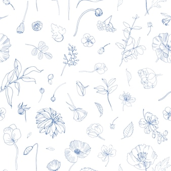 Teste padrão floral sem costura com flores desabrochando dispersas no jardim