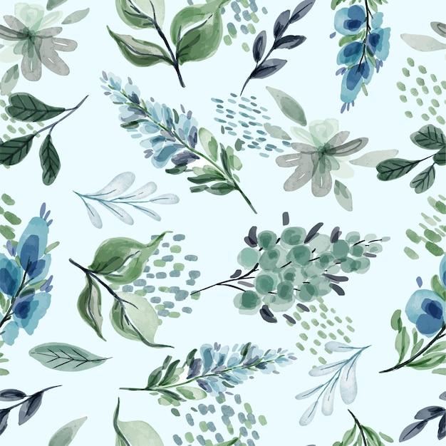 Teste padrão floral sem costura com flores e folhas