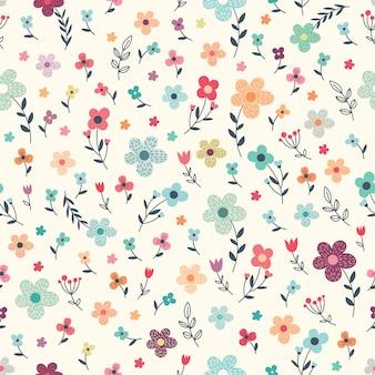 Teste padrão floral sem costura com flores e plantas