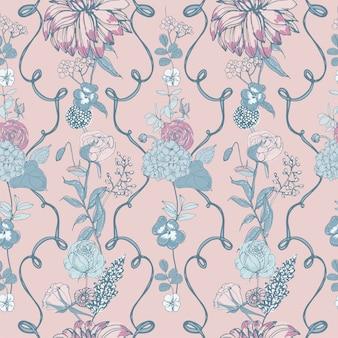 Teste padrão floral sem costura com flores, fundo vintage