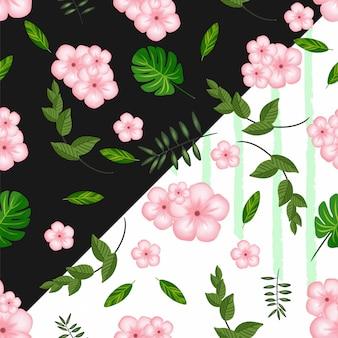 Teste padrão floral sem costura com flores tropicais e folhagem