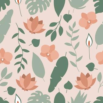 Teste padrão floral sem costura com flores tropicais e folhas.