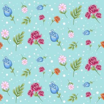 Teste padrão floral sem costura com folha, fundo floral em tons pastel