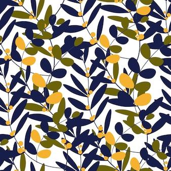 Teste padrão floral sem costura com folhas de ramos de outono