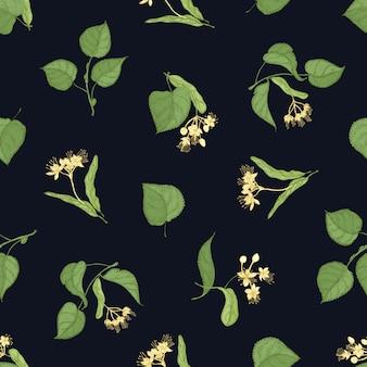 Teste padrão floral sem costura com folhas de tília e inflorescências em preto