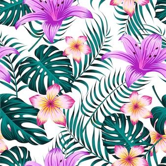Teste padrão floral sem costura com folhas fundo tropical