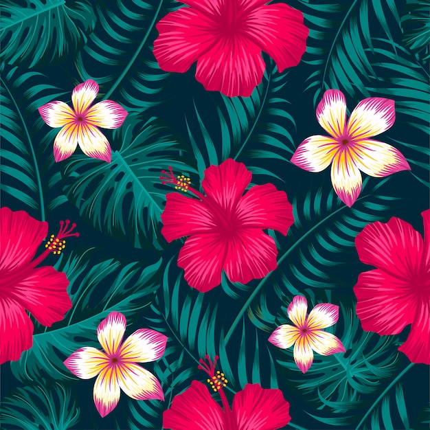 Teste padrão floral sem costura com folhas