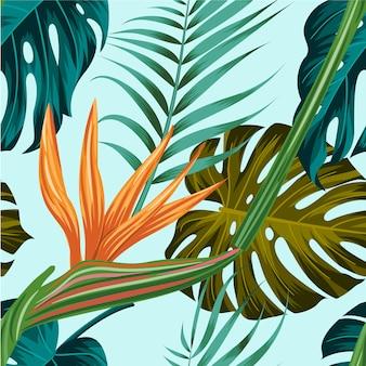 Teste padrão floral sem costura com fundo tropical de folhas