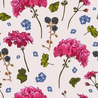 Teste padrão floral sem costura com gerânio florescendo