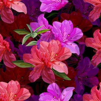 Teste padrão floral sem costura com ilustração vetorial de azálea