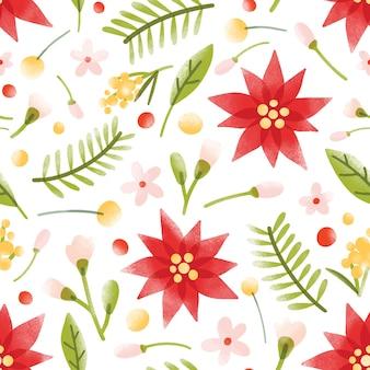 Teste padrão floral sem costura com lindas flores desabrochando, inflorescências e folhas em branco