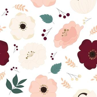 Teste padrão floral sem costura com lindas flores.