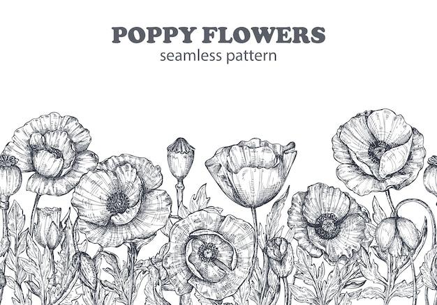 Teste padrão floral sem costura com mão desenhada papoula flores e folhas. ilustração em vetor monocromática no estilo de desenho.