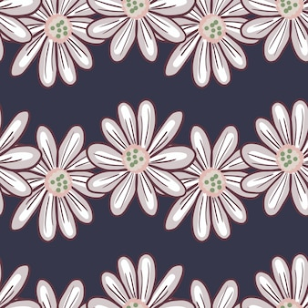 Teste padrão floral sem costura com ornamento de flores grandes de margarida com contornos. fundo azul marinho escuro. bloom print. ilustração das ações. desenho vetorial para têxteis, tecidos, papel de embrulho, papéis de parede.