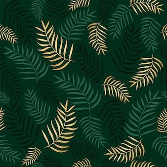 Teste padrão floral sem costura com palmeiras de ramos verdes e dourados exóticos coloridos sobre um fundo verde. ilustração em vetor abstrato com plantas tropicais para papel de parede, cartazes, cartão.