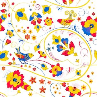 Teste padrão floral sem costura com pássaros