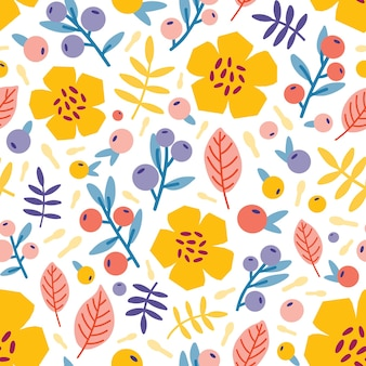 Teste padrão floral sem costura com plantas florescendo do prado do verão