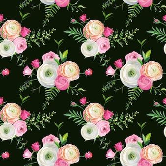 Teste padrão floral sem costura com rosas e flores de ranúnculo. fundo botânico para tecido, papel de parede e decoração. ilustração vetorial
