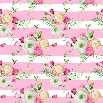 Teste padrão floral sem costura com rosas e flores de ranúnculo. fundo botânico para tecido têxtil, papel de parede, papel de embrulho e decoração. ilustração vetorial