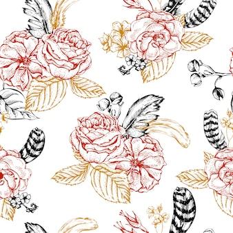 Teste padrão floral sem costura com rosas e penas