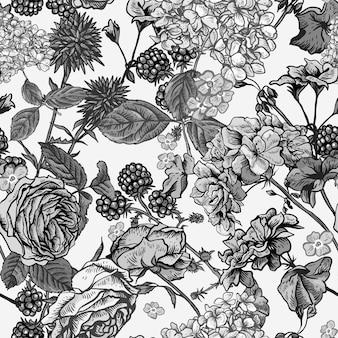 Teste padrão floral sem costura com rosas florescendo