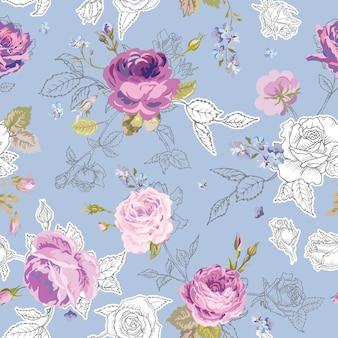 Teste padrão floral sem costura com rosas no estilo de contorno esboçado. flores fundo desenhado mão inacabado para tecido, impressão, papel de embrulho, decoração. ilustração vetorial