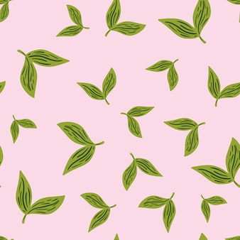 Teste padrão floral sem costura com silhuetas de folhas verdes aleatórias. fundo rosa pastel. estampa de ervas. ilustração vetorial para estampas de têxteis sazonais, tecidos, banners, cenários e papéis de parede.