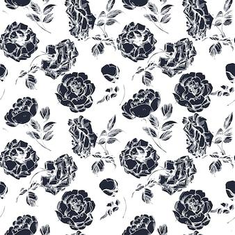 Teste padrão floral sem costura com um ramo de flor de rosa. ilustração vetorial