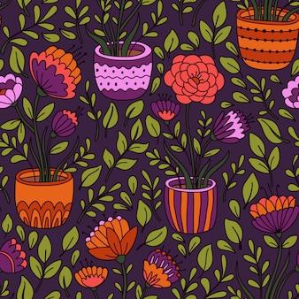 Teste padrão floral sem costura dos desenhos animados com vaso de flores