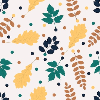 Teste padrão floral sem costura em folhas amarelas azuis e verdes