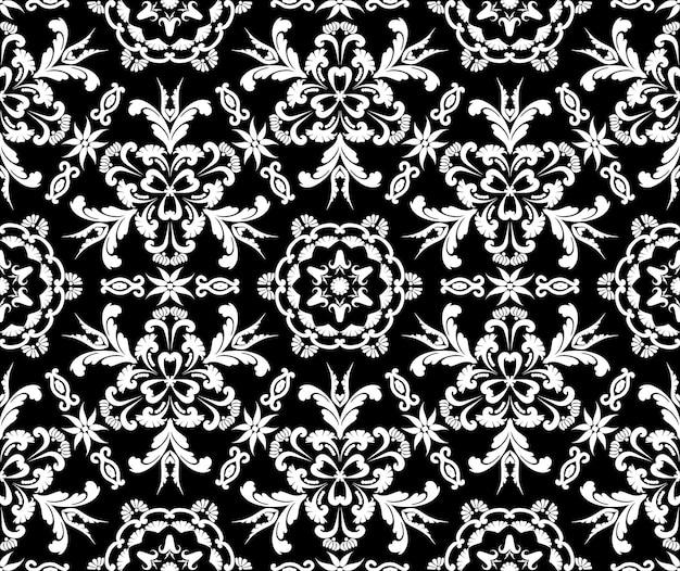 Teste padrão floral sem costura no estilo barroco vector damasco vintage ornamento preto e branco