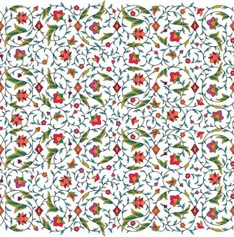 Teste padrão floral sem emenda árabe arabesco. ramos com flores, folhas e pétalas
