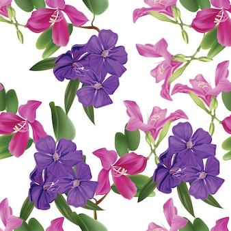 Teste padrão floral sem emenda com arbusto bauhinia e glória