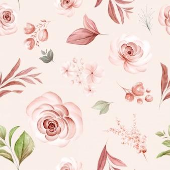 Teste padrão floral sem emenda de rosas em aquarela marrons e arranjos de flores silvestres