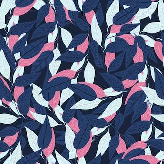 Teste padrão floral sem emenda em fundo azul escuro.
