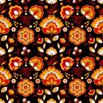 Teste padrão floral sem emenda no estilo country russo