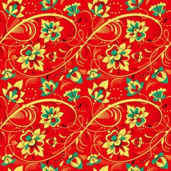 Teste padrão floral sem emenda no estilo de tradição russa