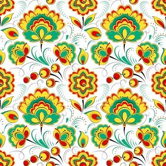 Teste padrão floral sem emenda no estilo folclórico russo