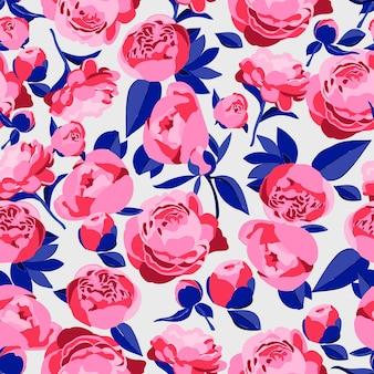 Teste padrão floral sem emenda rosas decorativas brilhantes, folhas e botões de peônias