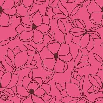 Teste padrão floral sem emenda. um desenho à mão linear com flores e folhas de magnólia. contorno da borgonha em um fundo rosa. ilustração vetorial.