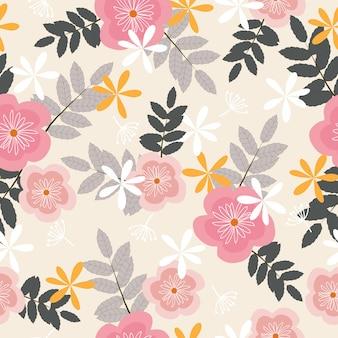 Teste padrão floral tropical pastel sem costura