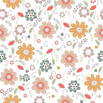 Teste padrão floral vetor no estilo doodle com flores e folhas