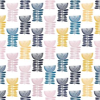 Teste padrão floral vetor no estilo doodle com flores