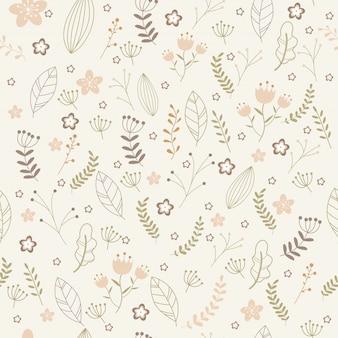 Teste padrão floral vetor no estilo doodle.