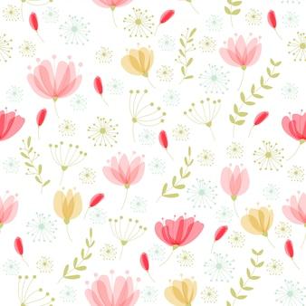 Teste padrão floral vetor no estilo doodle