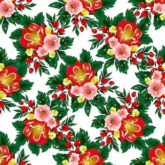Teste padrão floral vetor sem costura com bagas