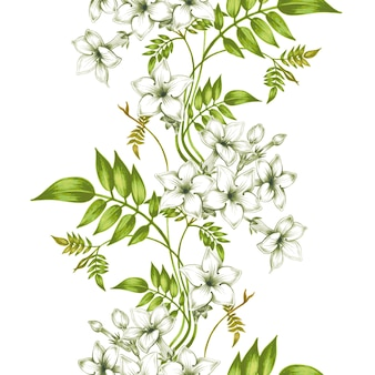 Teste padrão floral vetor sem costura com flores de jasmim.