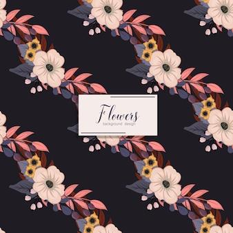 Teste padrão floral vetor sem costura com flores e folhas