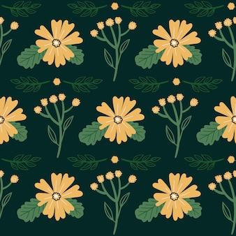 Teste padrão floral vetor sem emenda doodle flores folhas e plantas ilustração botânica